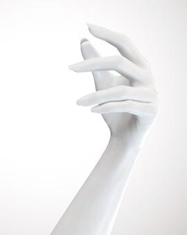 Geste de mains élégantes cosmétiques blanches en illustration 3d
