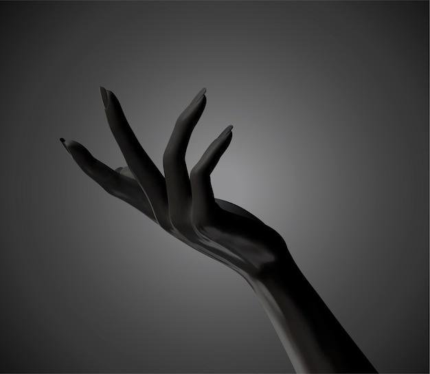 Geste de mains élégantes cosmétiques noir en illustration 3d