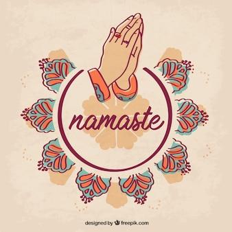 Geste namaste original avec des ornements