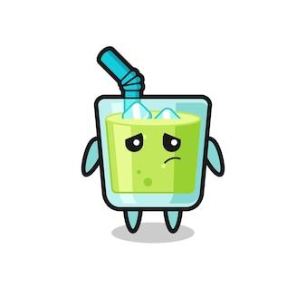 Le geste paresseux du personnage de dessin animé de jus de melon, design de style mignon pour t-shirt, autocollant, élément de logo
