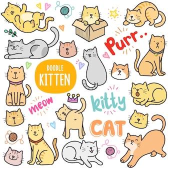 Gestes et activités de chats éléments graphiques vectoriels colorés et illustrations de griffonnage