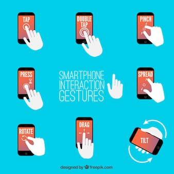 Gestes d'interaction smartphone