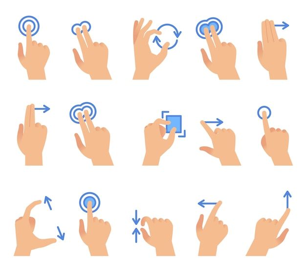 Gestes de la main de l'écran tactile. communication avec les appareils à écran tactile, faites glisser en utilisant le geste du doigt pour le jeu d'interface des applications