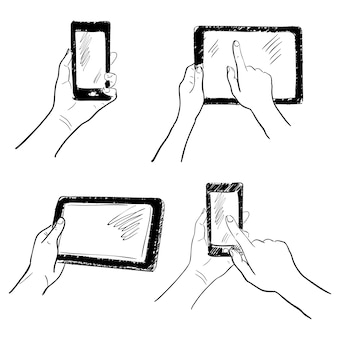 Gestes de main tenant tablette de smartphone écran tactile croquis illustration isolée