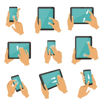 Gestes pour contrôler différents appareils tablettes et smartphones
