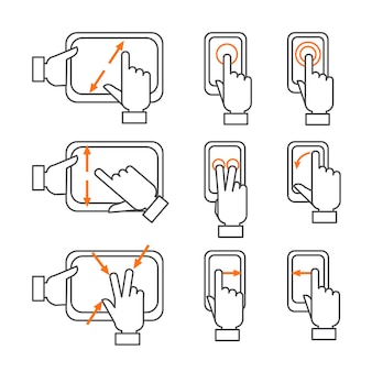 Gestes smartphone décrivent ensemble d'icônes