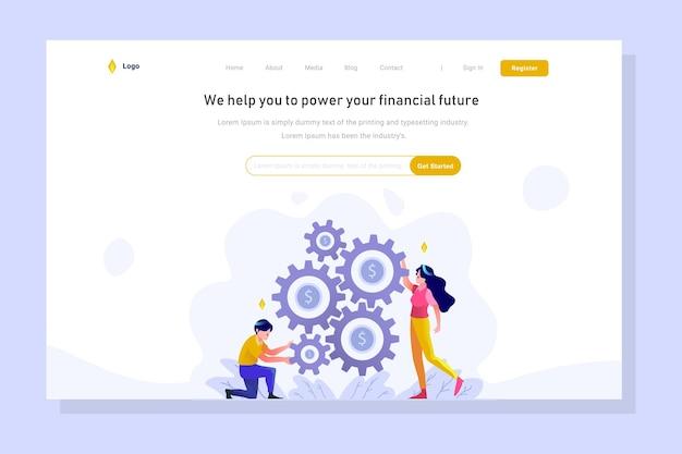 Gestion de l'argent définir la stratégie d'engrenage landing page business finance style dégradé plat illustration