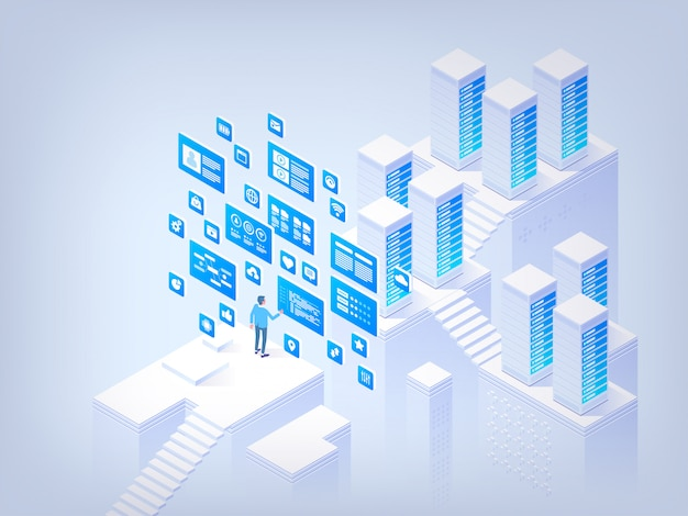 Gestion de base de données. concept de salut tech illustration isométrique de vecteur
