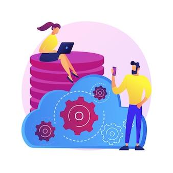 Gestion de données. tour de base de données collective. les gens partagent un lieu commun. mainframe centralisé, informations diffusées, fichiers stockés. réglementation personnalisée. illustration de métaphore concept isolé.