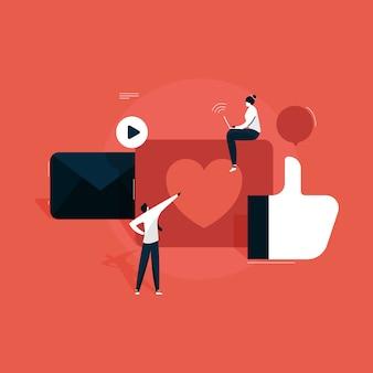 Gestion du marketing des médias sociaux, smm, communication réseau, publicité internet