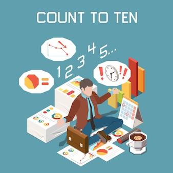 Gestion du stress avec illustration isométrique de comptage jusqu'à dix