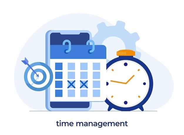 Gestion du temps d'affaires, concept de date limite, planificateur, organisateur, rappel de temps, bannière d'illustration vectorielle plate