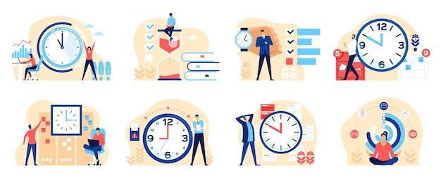 Gestion du temps gens d'affaires productifs organisant un concept multitâche de planification de travail efficace