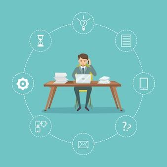 Gestion du temps avec homme d'affaires assis sur des éléments de bureau et de bureau autour