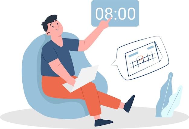 Gestion du temps avec homme et ordinateur portable