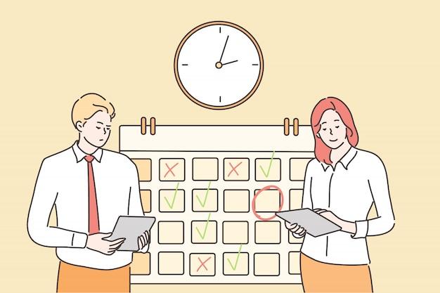 Gestion du temps, multitâche, travail d'équipe, concept d'entreprise
