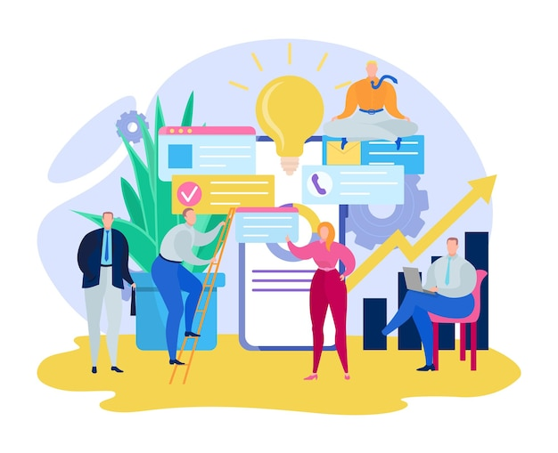Gestion du temps des personnes minuscules d'affaires, employé de bureau d'entreprise idée de travail d'équipe ampoule illustration vectorielle plate, isolée sur blanc.