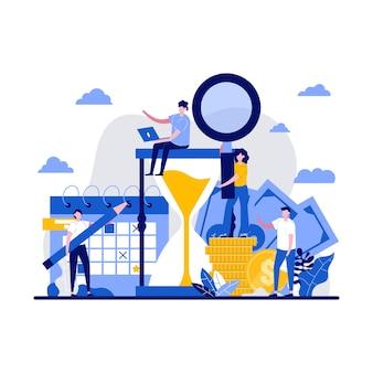 Gestion du temps, planification, délai, concept d'entreprise et de richesse avec un caractère minuscule. versement d'argent avec croissance future plate. gagnez du temps, une métaphore d'économie d'argent.