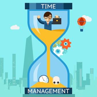 Gestion du temps de travail. homme d'affaires naufrage dans le sablier. horloge des finances, date limite de concept. illustration vectorielle