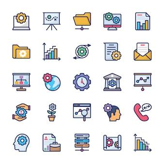 Gestion d'entreprise et icônes de glyphe de travail d'équipe