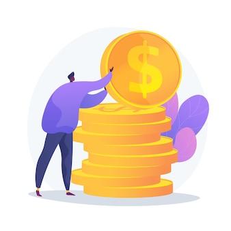 Gestion des finances. évaluation budgétaire, littératie financière, idée comptable. financier avec de l'argent, économiste tenant le personnage de dessin animé de pièce d'or.