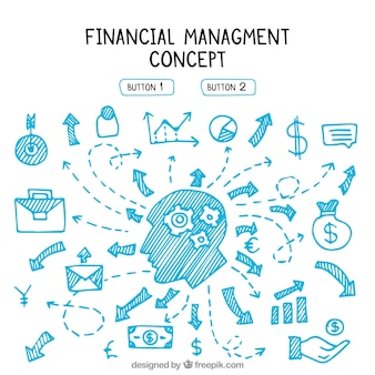 Gestion financière avec éléments dessinés à la main