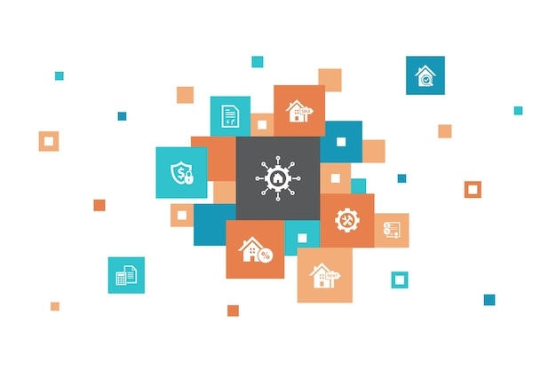 Gestion immobilière infographie conception de pixels en 10 étapes. crédit-bail, hypothèque, dépôt de garantie, icônes simples de comptabilité