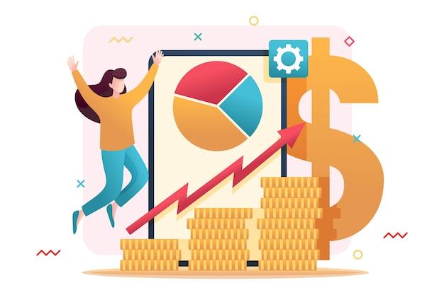 Gestion des investissements en ligne au design plat