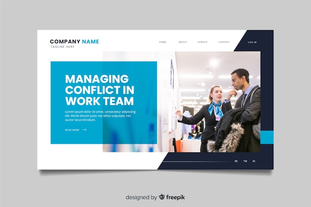 Gestion de la page de destination d'une entreprise en conflit avec photo