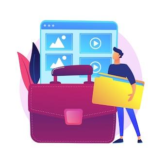 Gestion de portefeuille. exemples de projets précédents, catalogue des travaux, présentation des compétences. graphiste à succès, personnage de dessin animé de développeur web.