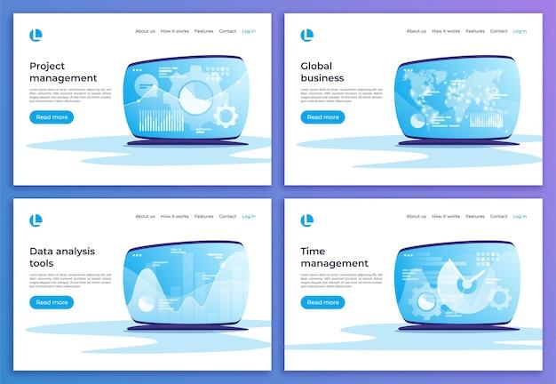 Gestion de projet et du temps, commerce mondial, analyse de données modèles de pages de destination.