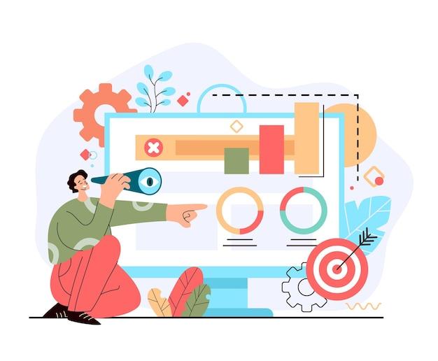 Gestionnaire d'homme d'affaires à la recherche d'objectifs futurs