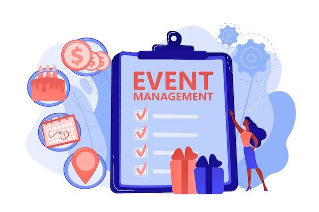 Gestionnaire avec liste de contrôle créant le plan d'événement et le développement. service de gestion et de planification d'événements, comment planifier un événement, concept de logiciel de planification. illustration isolée de bleu corail rose