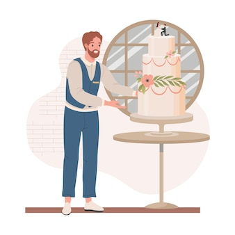 Gestionnaire de mariage en tenue formelle vérifiant le gâteau de mariage
