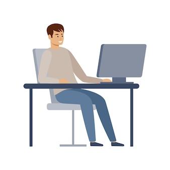 Gestionnaire masculin travaille sur un ordinateur