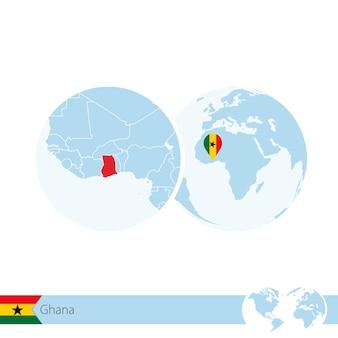 Ghana sur globe terrestre avec drapeau et carte régionale du ghana. illustration vectorielle.