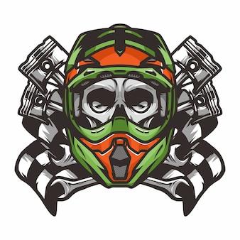 Ghost rider crâne route motard vecteur mascotte illustration