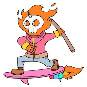 Ghost rider fly jouer à la planche à roulettes, doodle dessiner kawaii. illustration