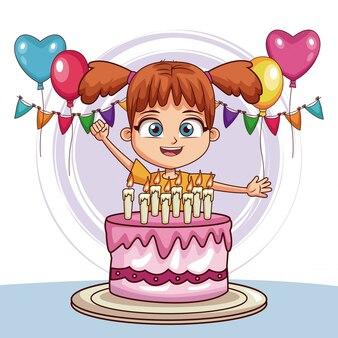 Gil avec un gâteau d'anniversaire et des ballons