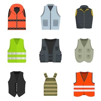 Gilet gilet veste costume icônes set vector isolé