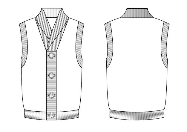 Gilet Homme Tricoté Avec Boutons Sur Le Devant. Noir Et Blanc Vecteur Premium