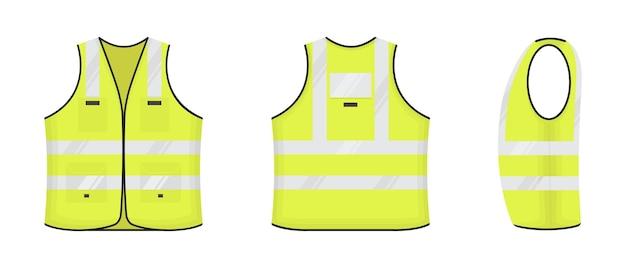Gilet réfléchissant de sécurité icône signe style plat design vector illustration set