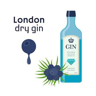 Gin Sec En Bouteille Bleue Vecteur Premium
