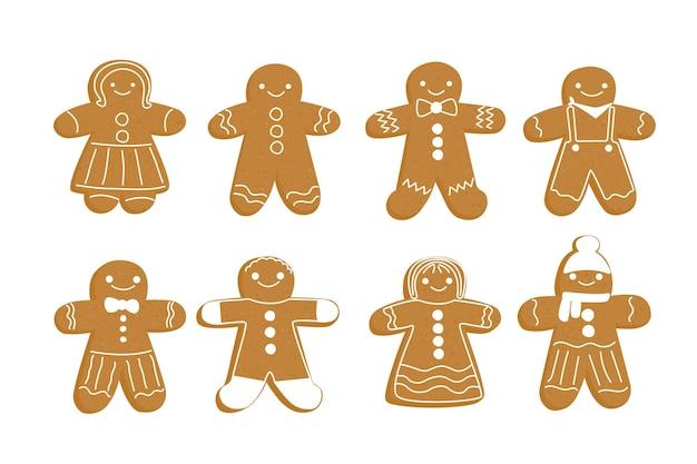 Gingerbread man set noël nouvel an gingembre cookie sous la forme d'une personne gâteau au poivre brun