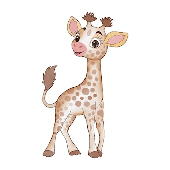 Girafe aquarelle mignonne dans une illustration de dessin à la main de style dessin animé