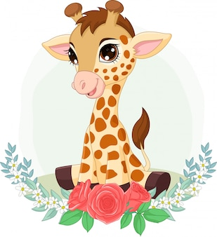 Girafe bébé dessin animé assis avec fond de fleurs