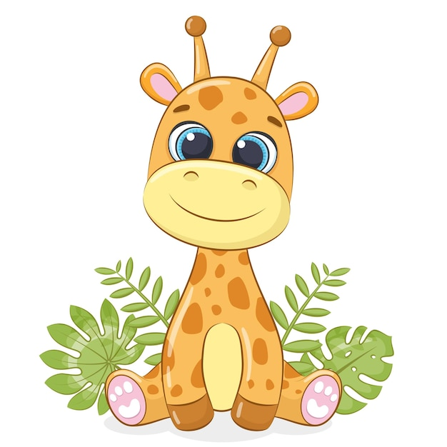 Girafe bébé mignon avec des feuilles tropicales. illustration vectorielle.