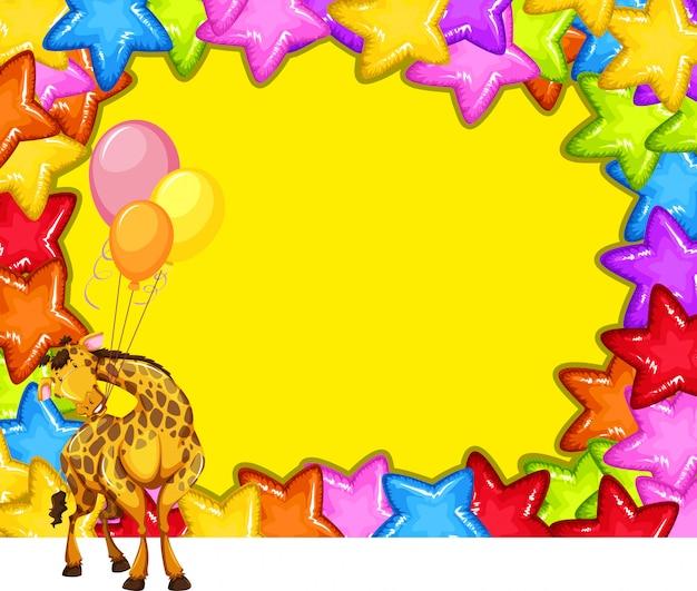 Girafe sur le cadre coloré