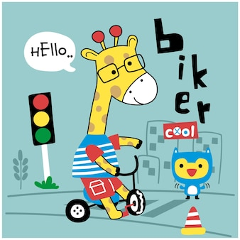 Girafe sur le dessin animé drôle d'animal de bycycle