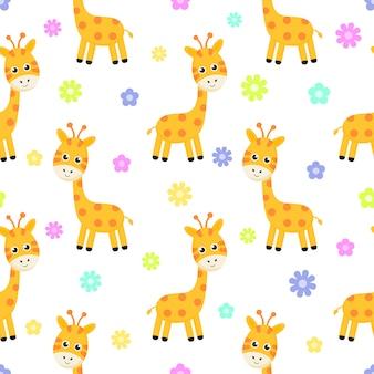 Girafe de dessin animé et modèle sans couture de fleur isolé sur fond blanc.